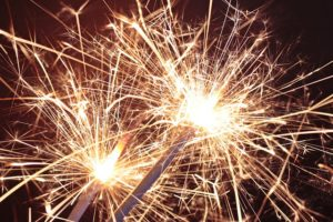 New year goals and resolutions new years sparklers in the night sky